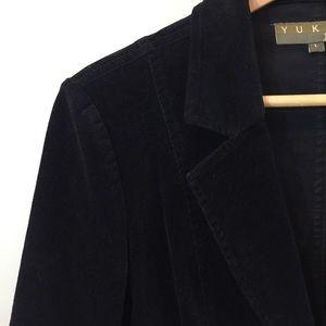 Yuka Jeans Black Corduroy 2 Button Jacket Large
